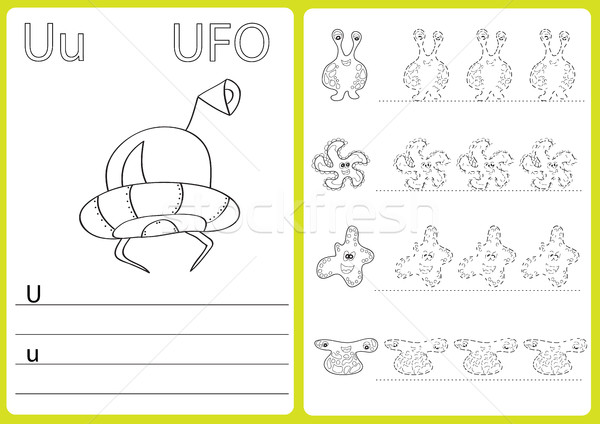 Stock photo: Alphabet A-Z - puzzle Worksheet, Exercises for kids - Coloring book
