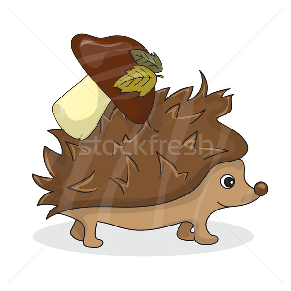Vector cartoon image of a cute brown hedgehog with white-brown mushroom Stock photo © Natali_Brill