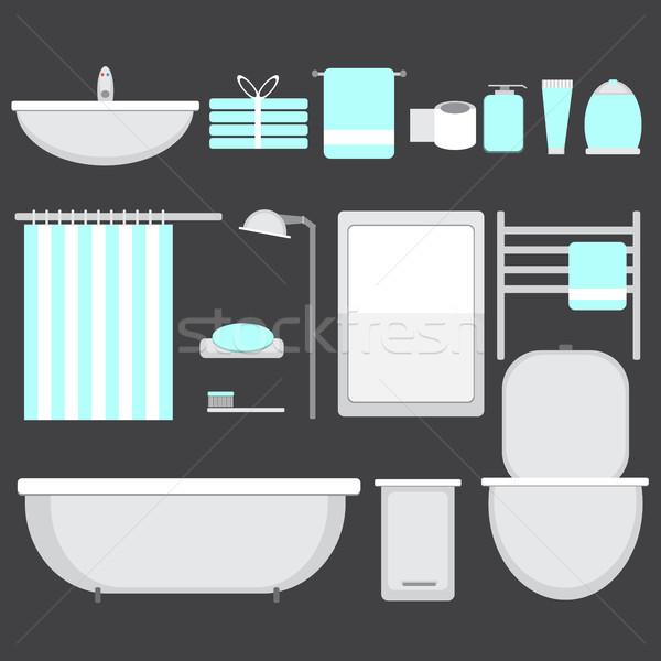 Modern bathroom ocons set in flat style Stock photo © Natali_Brill
