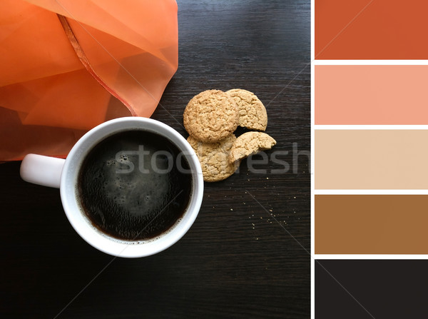 Cup with hot coffee and palette of colors Stock photo © Natali_Brill