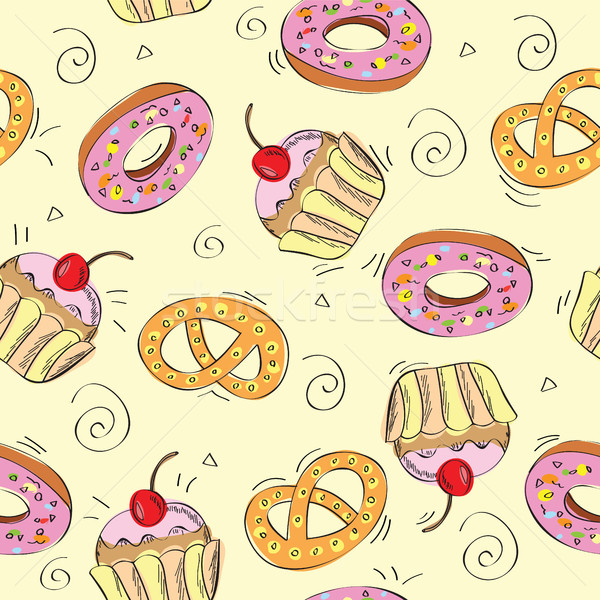 Stock photo: Seamless vector pattern cakes