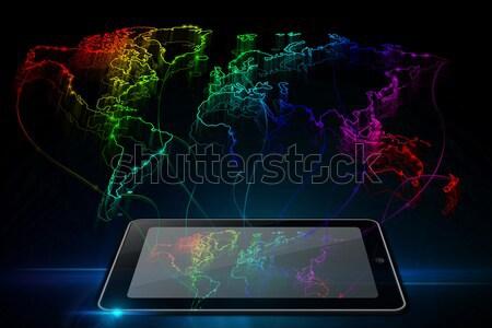 Neon contorno mappa mondo tablet nero Foto d'archivio © Natali_Brill