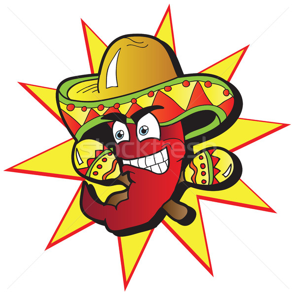 Chili Character with a Pair of Maracas Stock photo © Natali_Brill