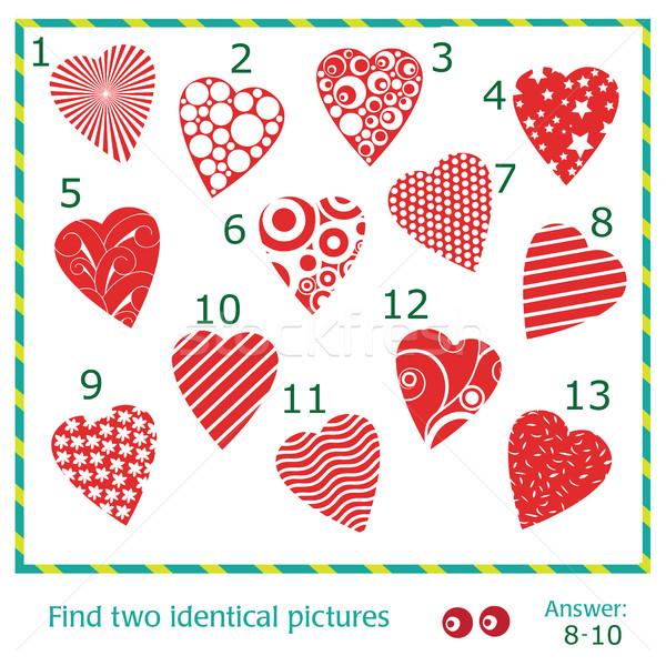 Bulmak iki aynı resimleri vektör kalpler Stok fotoğraf © Natali_Brill