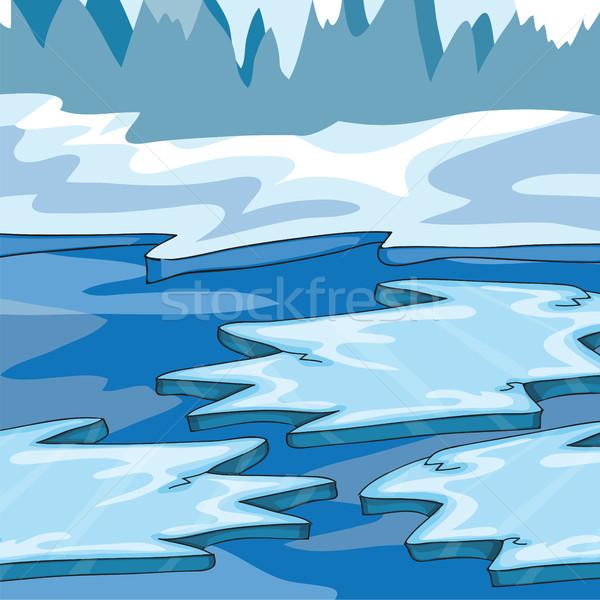 Islanda cartoon ghiaccio cielo mare neve Foto d'archivio © Natali_Brill