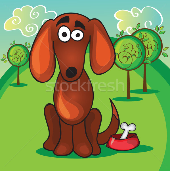 Cute cartoon dog bone mond grappig jonge Stockfoto © Natali_Brill