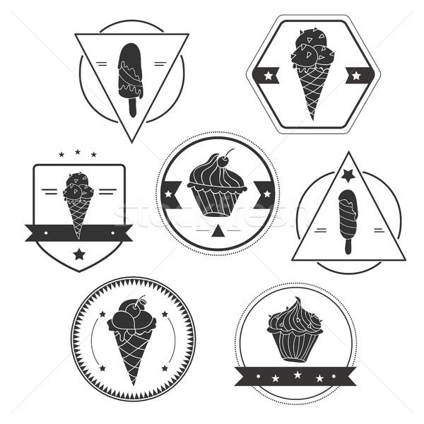 Raccolta gelato etichette vettore frutta ghiaccio Foto d'archivio © Natali_Brill