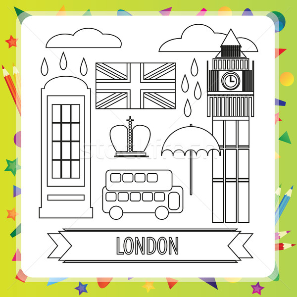 Boyama kitabı Londra çocuklar kız kitap Bina Stok fotoğraf © Natali_Brill