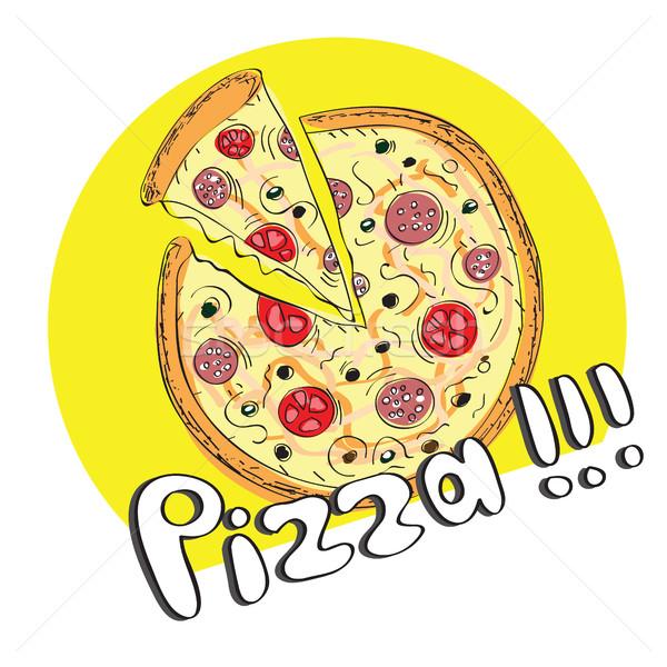 ピザ 手描き 食品 デザイン 緑 ストックフォト © Natali_Brill