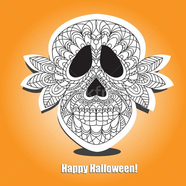 Dead  Skull  - helloween card Stock photo © Natali_Brill