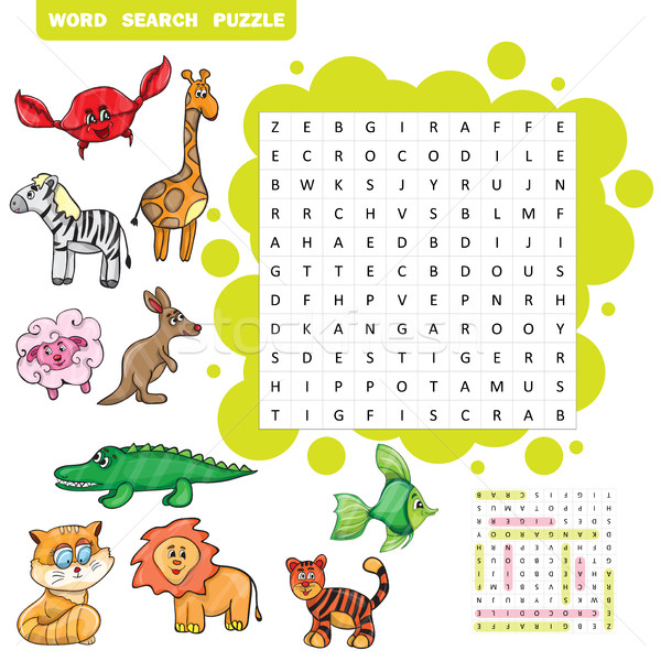 Stock photo: Vector education game for children about animals -Word search puzzle
