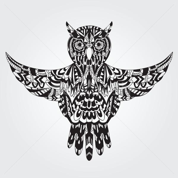 フクロウ 手描き いたずら書き スタイル テクスチャ ストックフォト © Natali_Brill