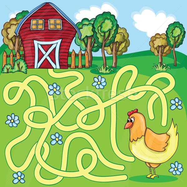 Funny vector laberinto juego Cartoon pollo Foto stock © Natali_Brill