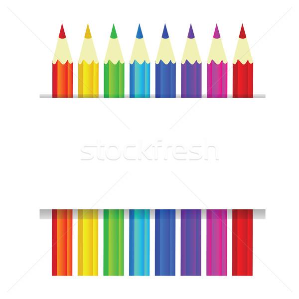Renkli kalemler vektör afiş metin soyut Stok fotoğraf © Natali_Brill