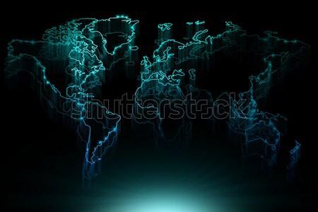 Azul contorno mapa mundo preto Foto stock © Natali_Brill