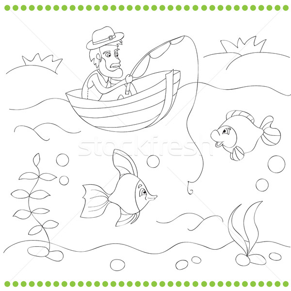 塗り絵の本 漁師 子供 図書 男 太陽 ストックフォト © Natali_Brill