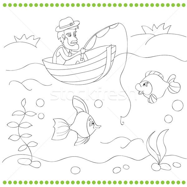 Coloring book with fisherman  Stock photo © Natali_Brill
