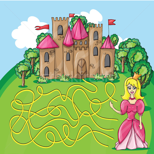 Maze game - hehp princess find the way to her castle Stock photo © Natali_Brill