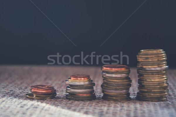 Coins Over Black Background Stock photo © Natali_Brill