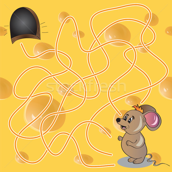 Vector Illustration of  Maze or Labyrinth Game with Funny Mouse Stock photo © Natali_Brill