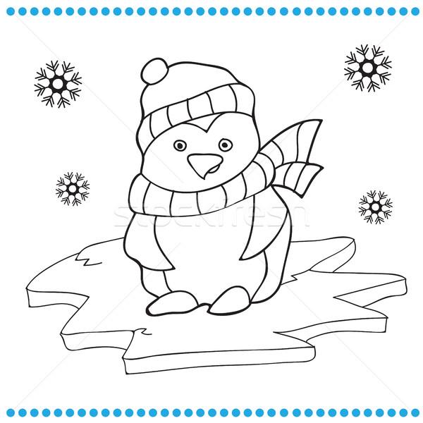 Penguen Karikatür Boyama Kitabı Kitap Mutlu Kar Vektör