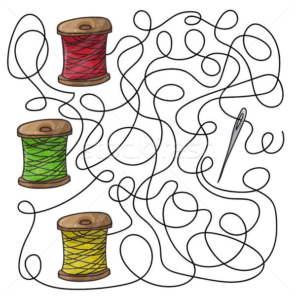 Maze game needle and spools of thread Stock photo © Natali_Brill