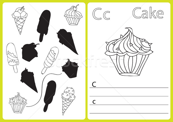 Alfabe bilmece çocuklar boyama kitabı örnek vektör Stok fotoğraf © Natali_Brill