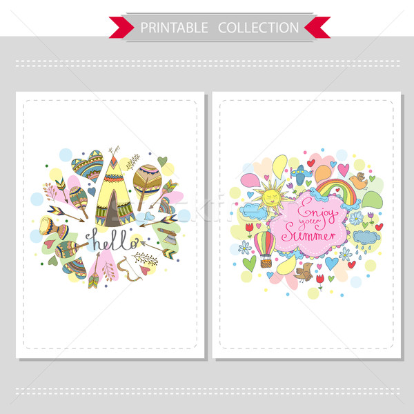 Stock photo: Cute hand drawn doodle postcards
