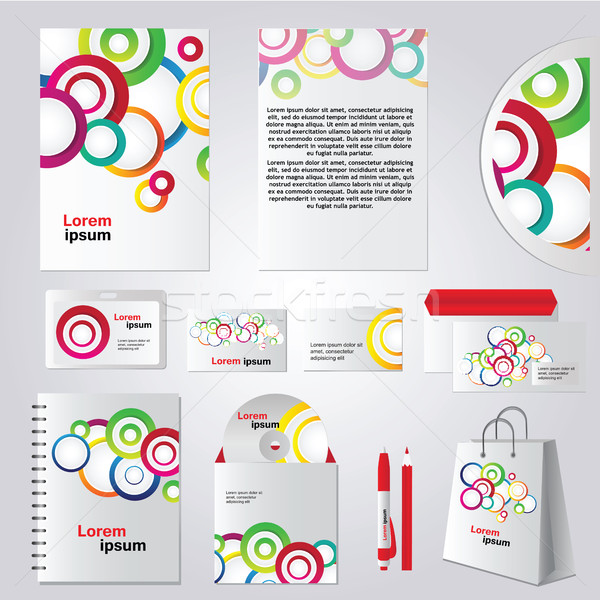 Colorful circle corporate identity template design Stock photo © Natali_Brill