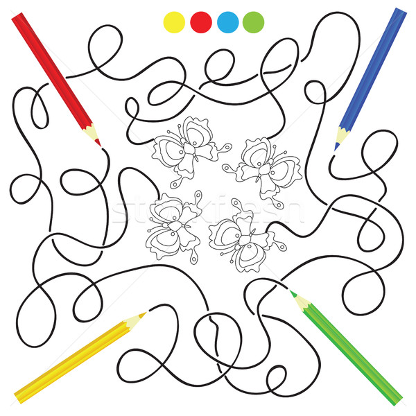maze game and coloring activity page for kids Stock photo © Natali_Brill