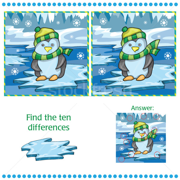 Find differences between the two images unny penguin on ice background Stock photo © Natali_Brill