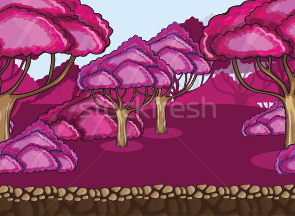 Seamless cartoon forest landscape Stock photo © Natali_Brill