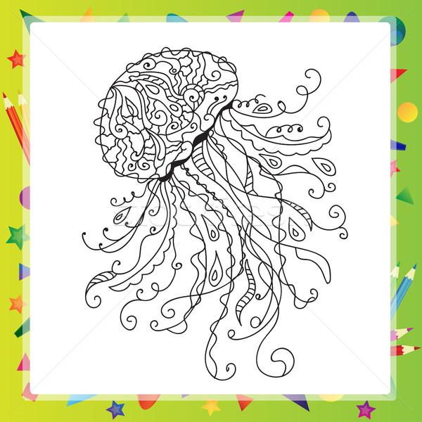 Kézzel rajzolt művészi tenger meduza oldalak firka Stock fotó © Natali_Brill