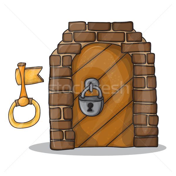 Foto stock: Chave · porta · castelo · desenho · animado · vintage · isolado