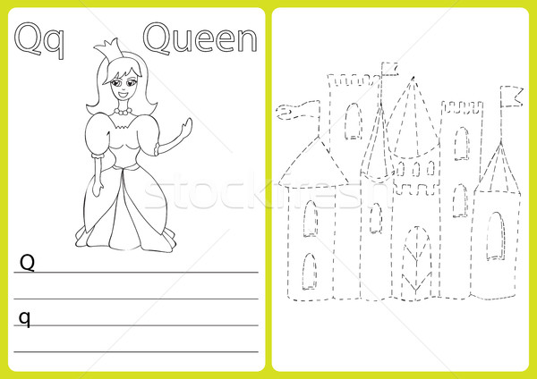 Alphabet A-Z - puzzle Worksheet, Exercises for kids - Coloring book Stock photo © Natali_Brill