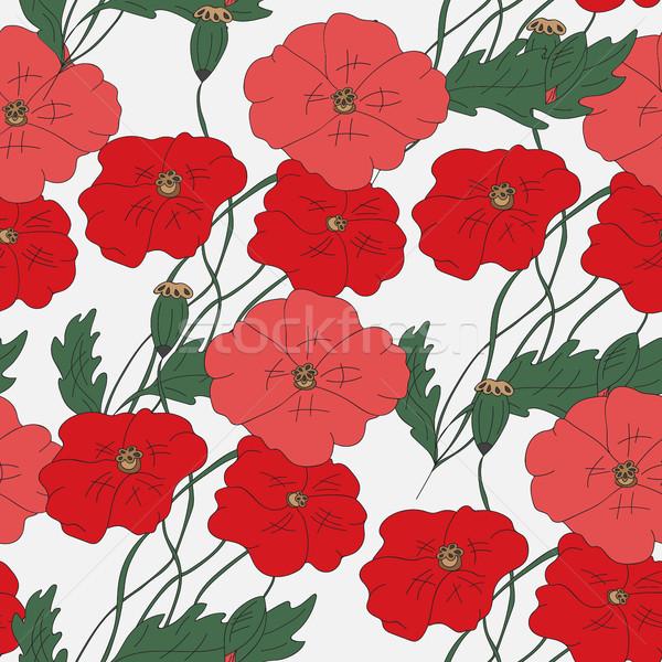 Colorful hand drawn poppies - seamless pattern Stock photo © Natali_Brill