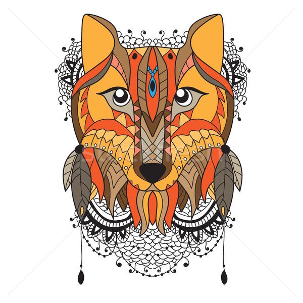 animal vector portrait - fox Stock photo © Natali_Brill
