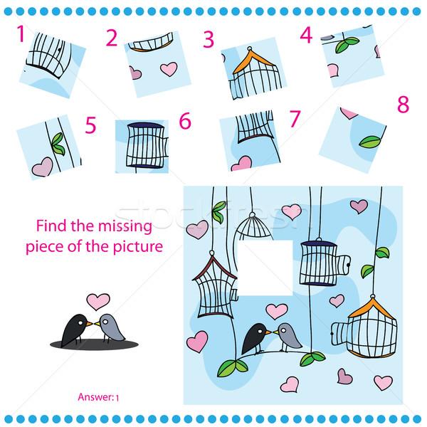 Foto stock: Encontrar · desaparecido · peça · quebra-cabeça · jogo · crianças