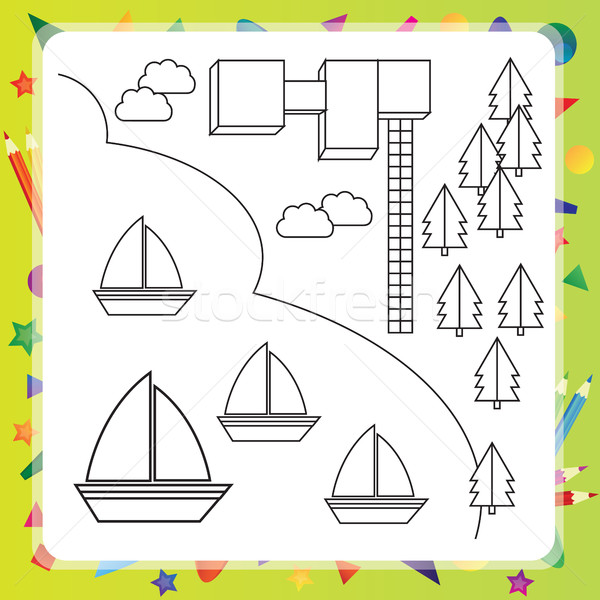 Coloring book with ships - vector illustration Stock photo © Natali_Brill