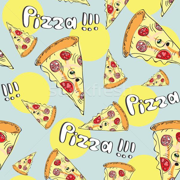 Foto stock: Rabisco · estilo · pizza · sem · costura · vetor