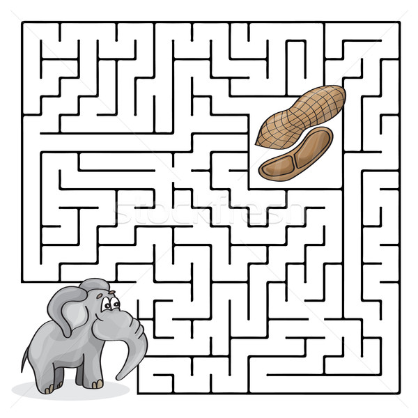 Stock photo: Education Maze or Labyrinth Game for Children with Cute Elephant and Peanuts