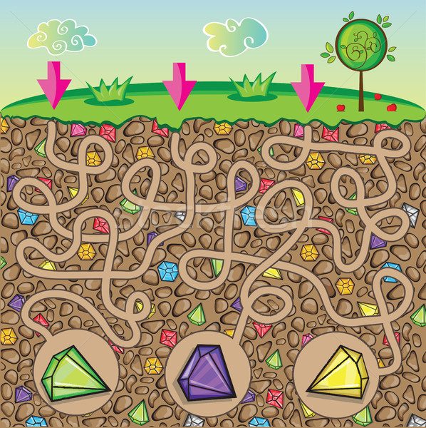 Maze for children - nature and precious stones under the ground Stock photo © Natali_Brill