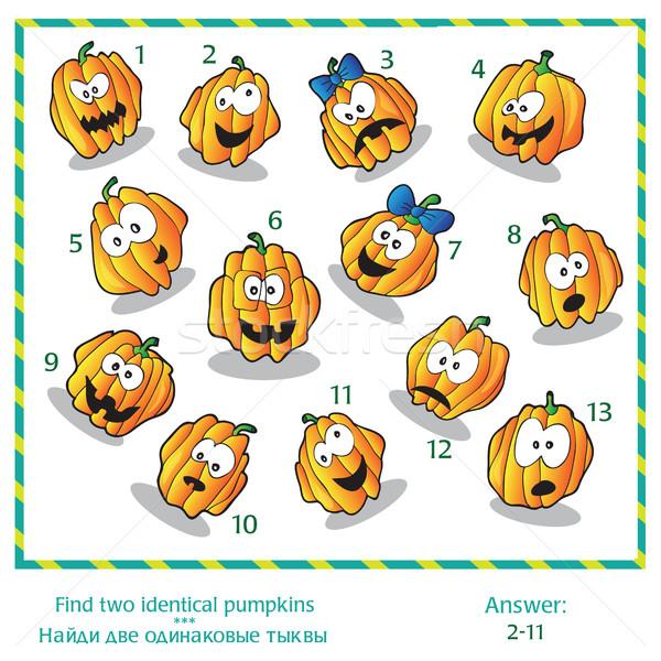 Foto stock: Halloween · quebra-cabeça · encontrar · dois