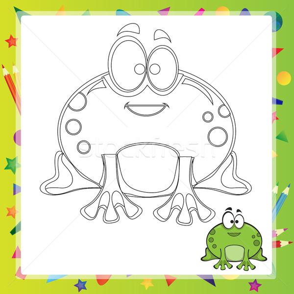 Ilustração desenho animado sapo livro para colorir sorrir livro Foto stock © Natali_Brill