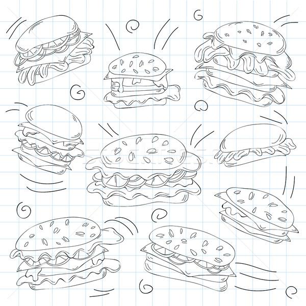 Fast food hamburger doodle set Stock photo © Natali_Brill