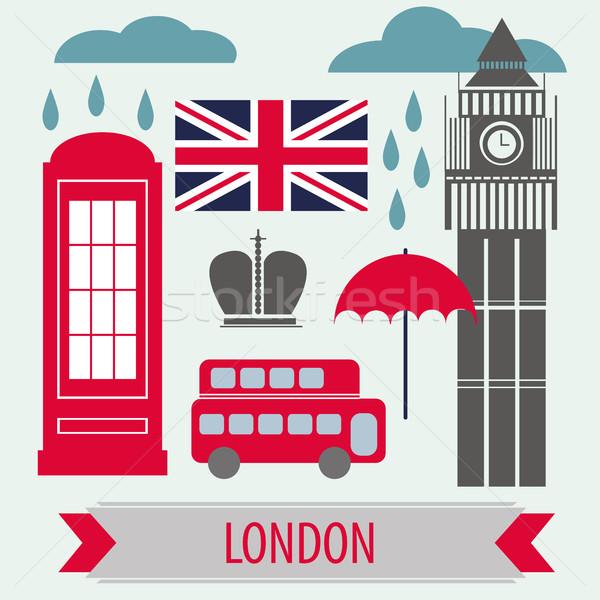 Poster With London Symbols and Landmarks Stock photo © Natali_Brill