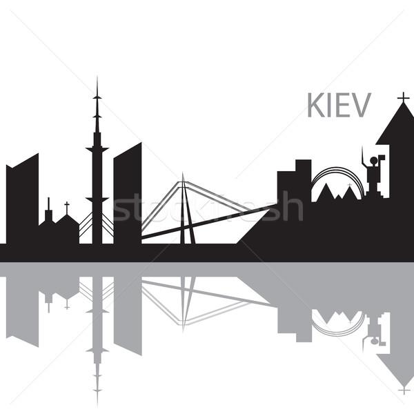 Kiev City skyline black and white silhouette Stock photo © Natali_Brill