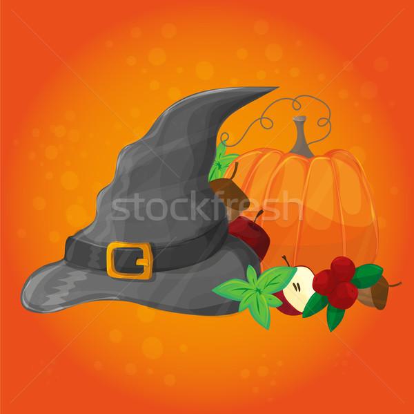 Halloween poster banner zucca Hat altro Foto d'archivio © Natali_Brill