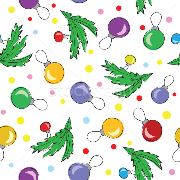 Stock photo: Christmas decorations, balls, seamless pattern
