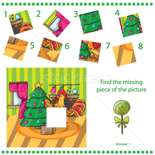 Find missing piece - Cartoon cock with tree Stock photo © Natali_Brill